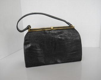 Vintage Purse Top Handle Handbag Lizard Skin Navy Blue