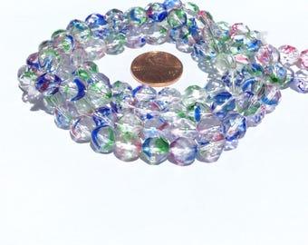 25 Beads Czech Firepolish Multcolored Round beads