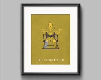 Star Wars Return of the Jedi - The Storyteller - C-3PO Art Print - poster, rebel, droid, robot