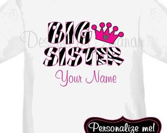 ON SALE Big Sister Zebra Personalized T Shirt