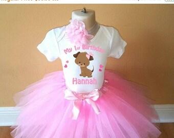 ON SALE Birthday Pink Puppy Dog Personalized Shirt Tutu Headband Set - ANY Age
