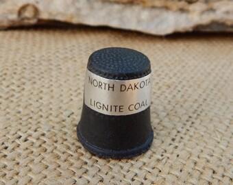North Dakota Thimble  ~  North Dakota Lignite Coal Thimble  ~  Lignite Coal Thimble  ~  North Dakota Souvenir