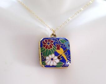 Vintage Asian Locket, Chinese Floral Bird Locket, Gold Filled Chain, Enamel Golden Brass Square Locket Necklace, Asian Import Locket