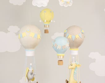 Gender Neutral Baby Mobile, Hot Air Balloon, Giraffe and Elephant Nursery Decor, Travel Theme Mobile i236