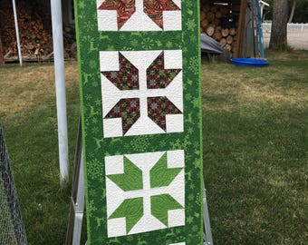 Quilted Table Runner, Christmas Quilted Runner, Holiday Runner, Holiday Table Runner