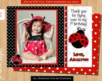 Ladybug thank you Lady bug thank you Love bug thank you Red ladybug birthday party first birthday party 1st Birthday Party thank you card