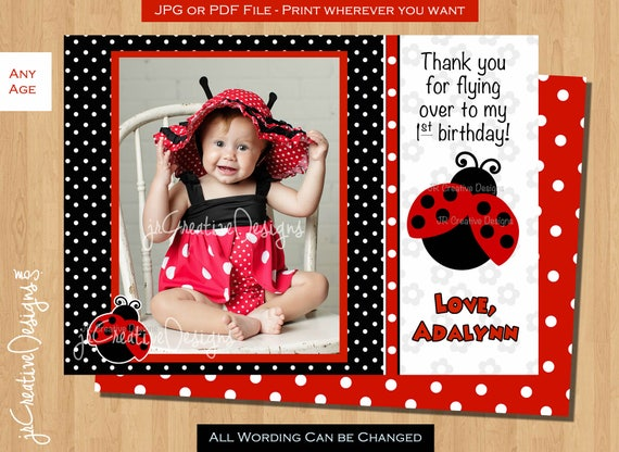 Ladybug Thank You Lady Bug Thank You First Birthday Thank You Card