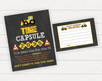 Time Capsule First Birthday, Time Capsule 1st Birthday, Construction 1st Birthday Party, Construction Birthday Party, Time Capsule Sign
