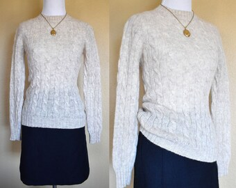 Shetland Wool Cream Sweater / Wool Sweater / Cable Knit Sweater / Small / Vintage Wool Sweater