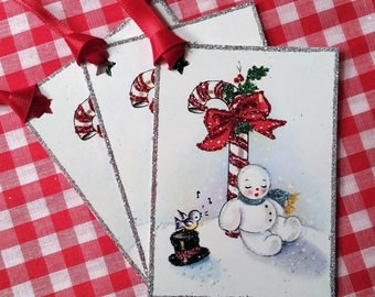 SALE! Glittered Christmas Tags ~ Hand-Glittered Candy Cane Snowman Tags with Ribbon, Old-Fashioned, Vintage Style