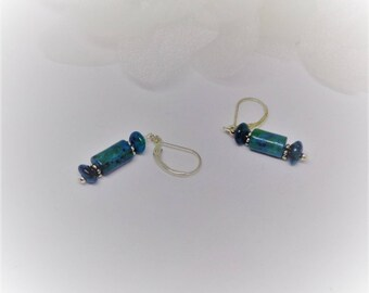 Silver Turquoise Earrings Blue Turquoise Earrings Green Turquoise Earrings Sterling Silver Long Earrings Dangle Earrings BuyAny3+Get1Free