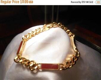 50% Off Sale Avon Rust Red and Gold Tone Chain Link Trazarra Wristchain Bracelet