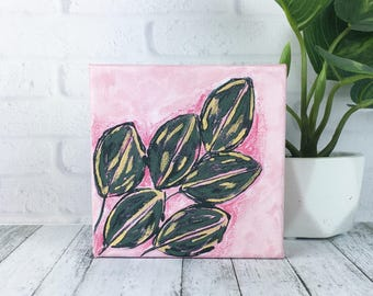 Mini Pink Jungalow Painting, 5x5 Canvas Painting Botanical Art, Pink Painting , Small Artwork Original Painting with Green Leaves