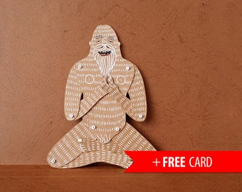 Articulated paper doll Yeti Bigfoot Christmas gift Xmas present puppet greeting card Sasquatch puppet funny boyfriend gift fathers day gift