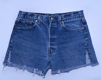 90s Levis 501 Button Fly Cut Off Blue Denim High Waisted Jean Shorts W 32