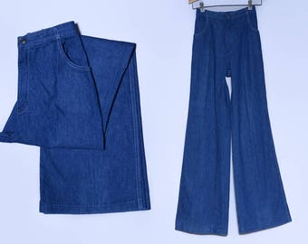 70s Bell Bottoms Dark Denim High Waisted Bohemian Baby Blue Jeans