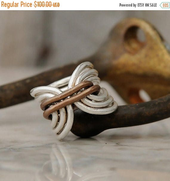 ON SALE Boho Ring - Bohemian Ring - Hippie Ring - Unique Fine Silver Ring - Fine Silver and Copper