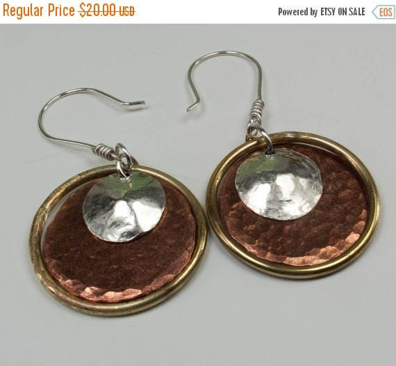 ON SALE Mixed Metal Earrings - Silver Brass Copper Hoop Earrings - Disc Earrings