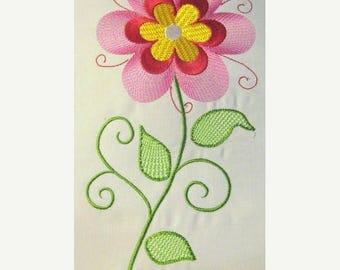 ON SALE Vintage Flower 10 Filled Machine Embroidery Design - 5x7 & 6x8