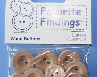 15% OFF - 9 Pack Favorite Finding Variety Size Wood Buttons Two Hole Sew Through