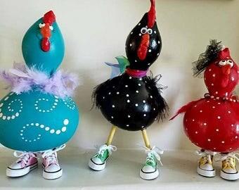 Hennies in Tennies- Gourd Chickens Accessorized