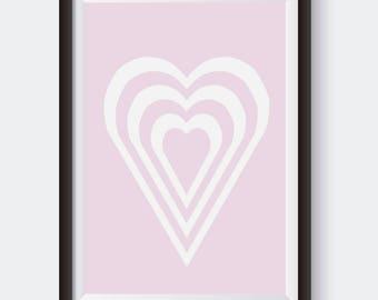 Heart Silhouette Art. Digital Print. Girl Nursery Decor. Girl Bedroom Print. Purple Nursery Art. Valentine's Day Print. Wedding Art