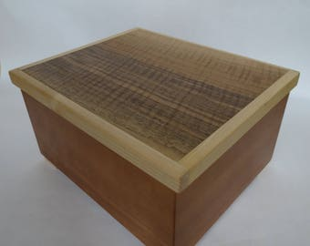 Wooden box from cherry, figured walnut and maple