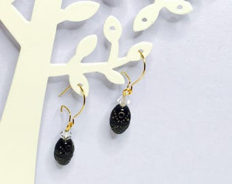Vintage Gold plated earrings, black & crystal beads, Clearance Sale, Item No. B419
