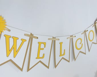 Welcome Banner - Rustic Home Decor - Wedding Decor - Baby Shower Decor - Birthday Party Decor - Custom Colors Available - Pennant Banner