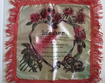 Vintage Satin Pillowcase with Fringe Mid-Century Mother Mothers Day
