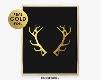 Gold Foil Print ANTLERS Reindeer Art Poster Woodland Animal Poster Deer Nature Office Decor Moose Glam Rustic Desk B13