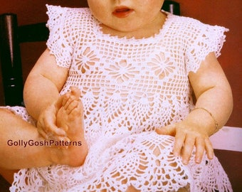 PDF Crochet Pattern - Baby Crochet Dress with Cap Sleeves - Instant Download