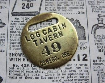 Vintage Brass Metal Tag Number 49 Tag LOG CABIN Tavern Hotel Room Oswego Oregon #49 Antique Original Key Fob Keychain Room # Key Chain