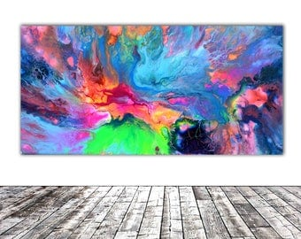 """ORIGINAL ABSTRACT ART - 20x10"""" - Fusion 4, Unique Original Fluid Abstract Painting Fine Art One of a Kind, Gift Wall Decor"""