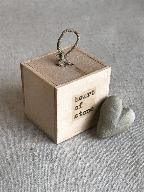 heart of stone - grey stoneware - heart in a box