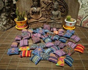 50 Textile Pockets Hand Made with Upcycled Hmong Print Fabric