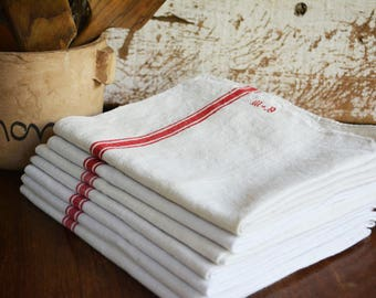 French Antique Linen, Monogramed Linen Tea Towels, Initials M B, Country French Decor