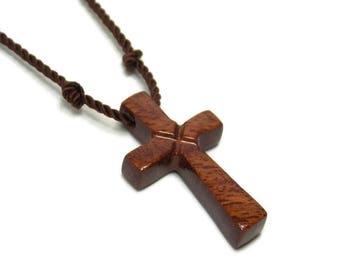 Mens Jewelry Cross, Minimalist Cross Necklace, South American Curupay Cross, Cross Necklace Men, Men's Wooden Cross Necklace, Gifts Under 20