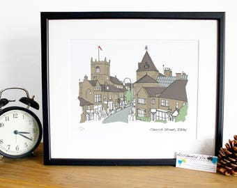 Ilkley Art, Church Street Yorkshire - Original art illustrative print 10x12, digital print Ilkley