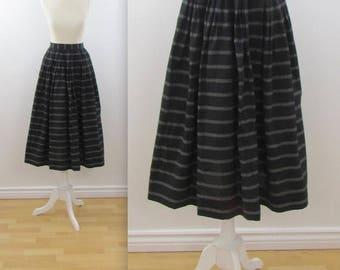 SALE Black + White Full Midi Skirt - Vintage 1980s Simon Chang Skirt in Small