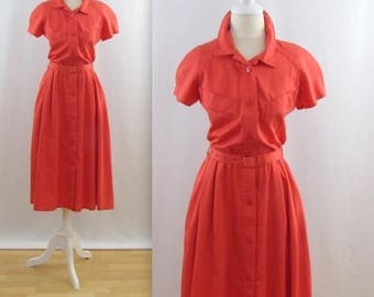 SALE Persimmon Spice Full Skirt Midi Dress - Vintage 1980s does 50s Shirtwaist Dress in Medium by Bel Chic