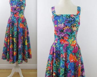 SALE 1980s does 50s Circle Skirt Floral Summer Dress - Vintage 80s Bright Sundress in Small by Aimee