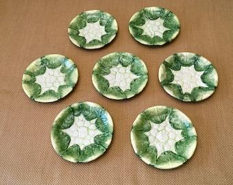 Vintage Handpainted Majolica Cauliflower Plates, Mann Taiwan 1982 Plates, Set of 7, Monte Verde