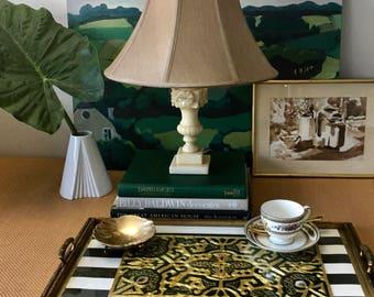 Vintage Alabaster Table Lamp, Urn with Flower Motif