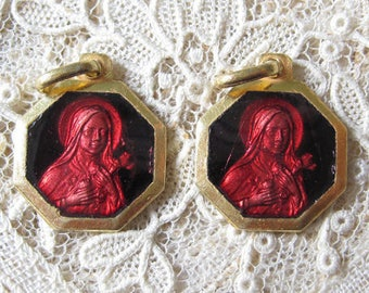 PAIR - Vintage Red Enamel St Therese Gold Plated Medals M947
