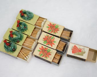 Mid Century Match Box Lot - Made in Sweden, Japan, Denmark - Gold, Wreath, Holly, Angel