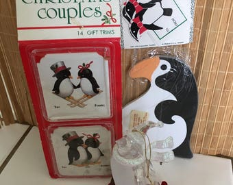 """Vintage 80's  """"PENGUIN CHRISTMAS ITEMS"""" a Lot of 4 - Ornament, Box Tags, Gift Trims & Note Pad"""