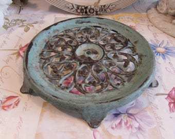 Antique, vintage French beautiful old and decorative metal enamel pot / trivet stand.  Country cottage chic.
