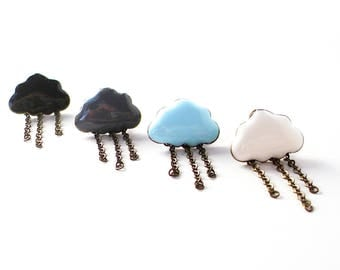 Raincloud Earrings in Bronze and Enamel - Mix and Match Rain Stud Earrings