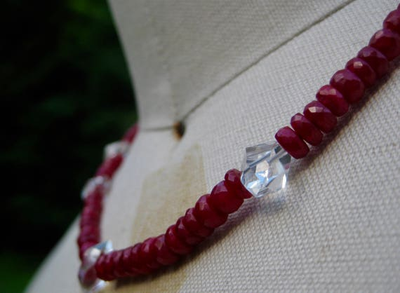 ARIEL  Single Strand Ruby Necklace with Herkimer Diamonds